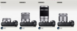 Sony NEX-F3 with various E-mount interchangeable lenses