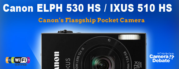 Canon IXUS 510 HS pocket camera on blue background