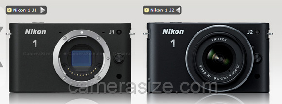Nikon 1 j1 vs j2 size comparison