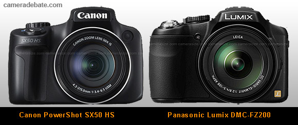 Canon SX50 HS and Panasonic FZ200 side by side comparison