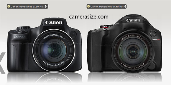 CAnon SX50 HS and SX40 HS size comparison (via camerasize.com)