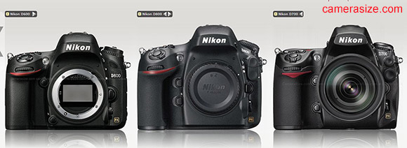 Nikon D600, D700, D600 cameras side by side