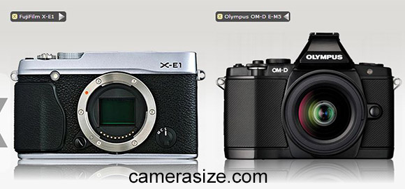 Fujifilm X-E1 and Olympus OM-D E-M5 cameras size comparison (via