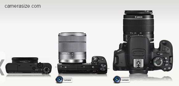 Sony RX100, NEX-5R and Canon 650D with lenses attached