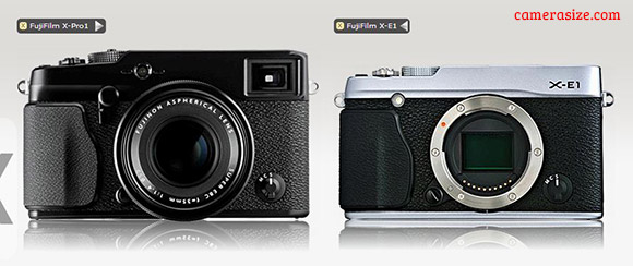 X-Pro1 vs X-E1 size comparison