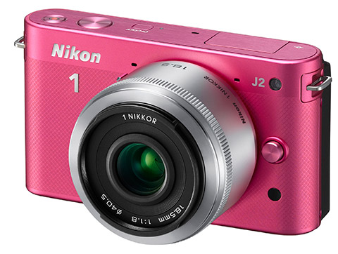Nikon 18.5mm lens mounted on Nikon J2 pink camera