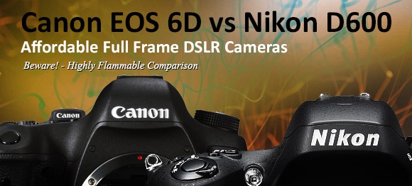 Canon 6D and Nikn D600 cameras side by side