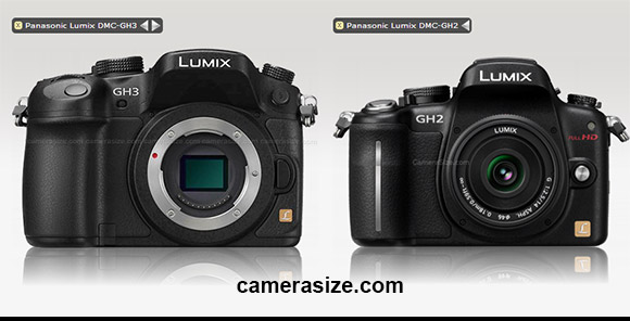 Panasonic GH3 and GH3 cameras size comparison