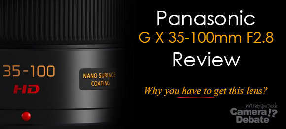 Panasonic G X 35-100 mm F2.8 lens on dark background