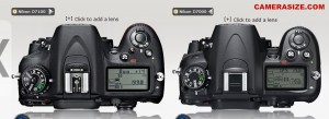 D7100 vs D7000 - Top View