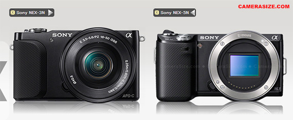 Sony NEX-5R vs NEX-3N size comparison