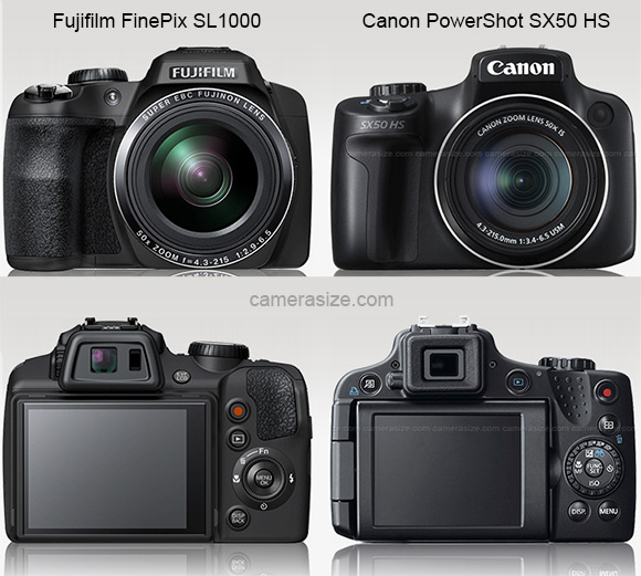 Canon SX50 HS and Fujifilm SL1000 ultra zoom cameras (Front & Rear