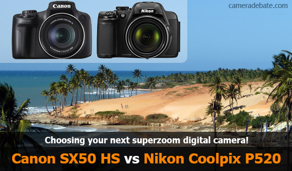 Nikon P620 and Canon SX50 HS with beach landscape background