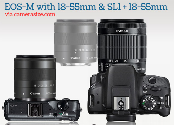 Canon EOS-M and Rebel SL1 with 18-55mm lens size comparison