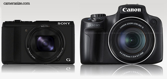 Sony HX50V vs Sony SX50 HS size comparison