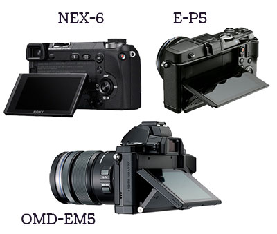 Tiltable screen NEX-6, E-P5, O-MD E-M5 comparison