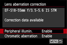 Lens Aberration Correction in menu