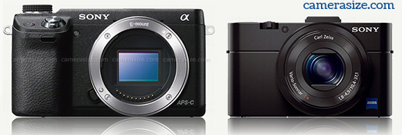 Sony RX100 II vs Sony NEX-6 size comparison