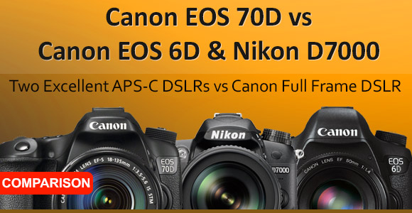 Canon EOS 60D, Nikon D7000 and Canon 6D cameras side by side