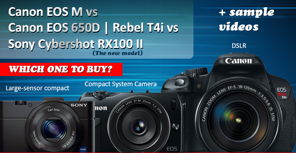 Canon EOS M, Rebel T4i and Sony RX100 II side by side