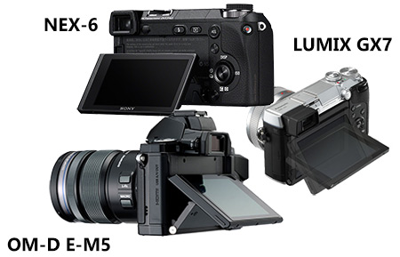 Tilting display - Panasonic GX7 vs NEX-6 and E-M5