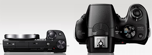 Sony NEX-5T and Sony A3000 size comparison (top)