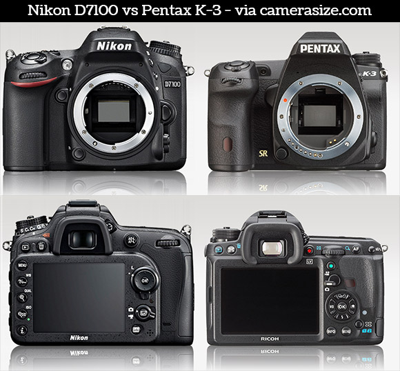Nikon D7100 and Pentax K-3 side by side