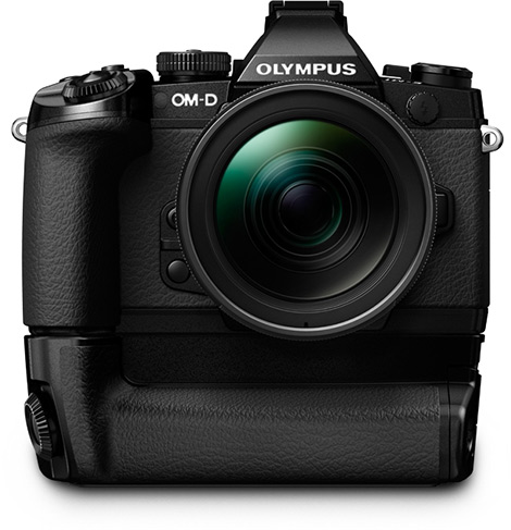 HLD-7 battery grip attached to Olympus E-M1