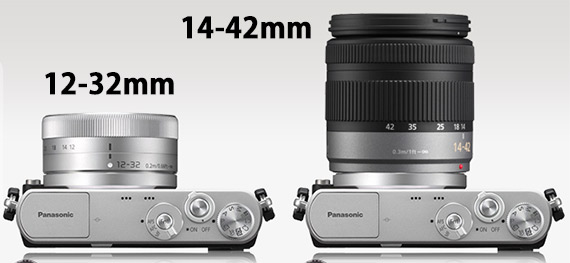 Panasonic GM1 with 12-32mm lens and 14-42mm lens size comparison