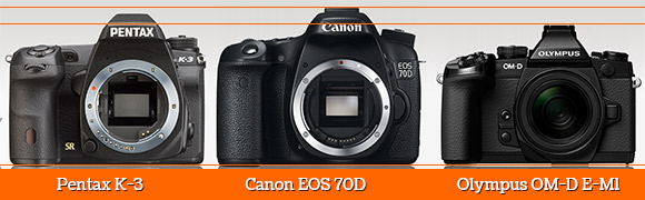 Pentax K-3 vs Canon EOS 70D vs Olympus OM-D E-M1 cameras side by side