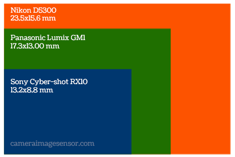 Sensor size comparison: Sony RX10, Panasonic GM1 and Nikon D5300