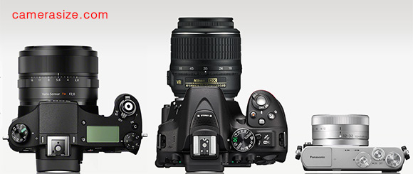 Sony RX10, Nikon D5300 and Panasonic GM1 top view with lenses