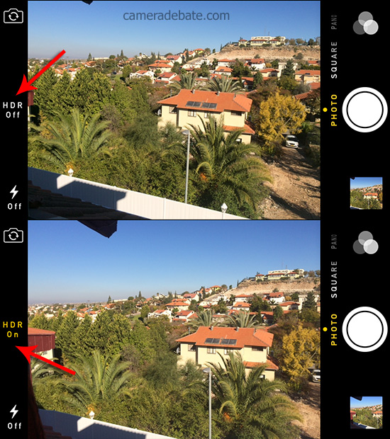 HDR On and Off, iOS7 camera app screenshot