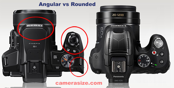 The Fujifilm FinePix S1 angular shape compare to the Panasonic FZ70 rounded one