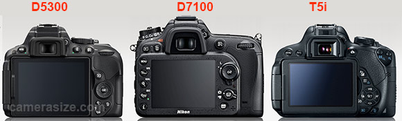 Nikon D5300, D7100 and Canon T5i cameras side by side