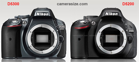 Nikon D5300 and D5200 size comparison