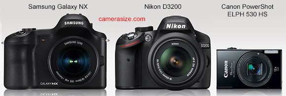 Samsung Galaxy NX size comparison vs Nikon D3200 and Canon PowerShot ELPH 530 HS