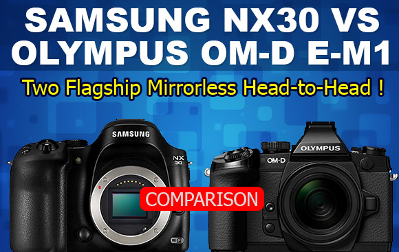 Samsung NX30 and Olympus OM-D E-M1 cameras banner