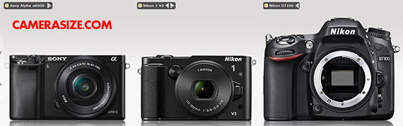 Sony a6000, Nikon 1 V3 and Nikon D7100 side by side comparison