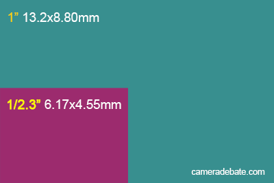 1-inch sensor vs 1/2.3-inch sensor size comparison illustration