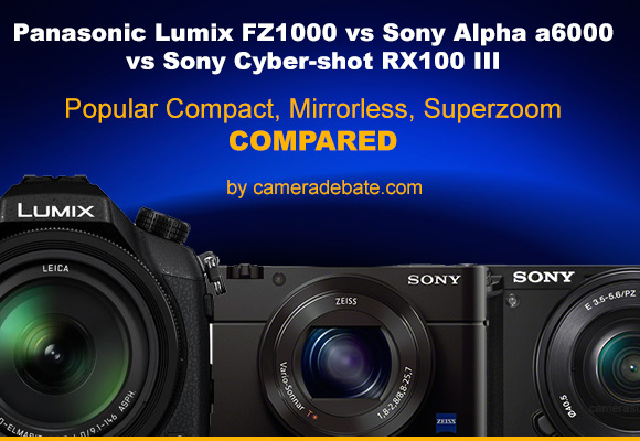 Panasonic FZ1000, Sony RX100 III and Sony a6000 side by side banner