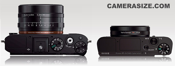 Sony RX1R (left) vs Sony RX100 III size comparison (via camerasize.com, click to view on camera size website)