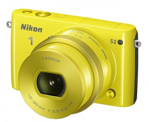 Nikon 1 S2 mirrorless camera in yellow