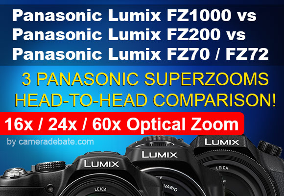 Panasonic FZ1000, FZ200 and FZ70 superzoom cameras side by side