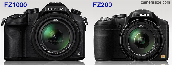 Panasonic FZ1000 vs FZ200 size comparison (via camerasize.com)