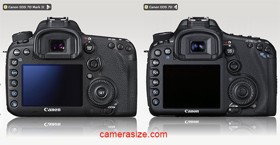 Canon 7D Mark II vs 7D size comparison