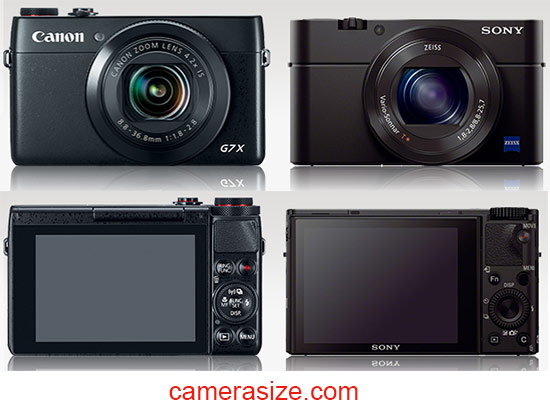 Canon G7 X and Sony RX100 III size comparison