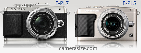 Olympus PEN E-PL7 and E-PL5 side by side size comparison