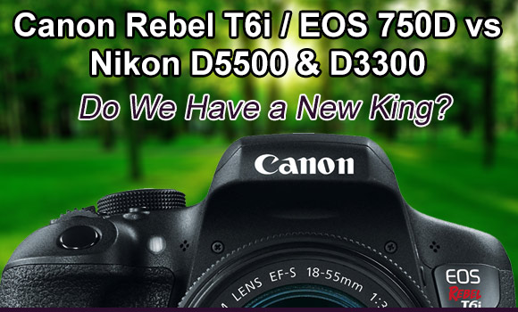 Canon Rebel T6i camera with forest and trees behind