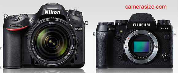 Nikon D7200 vs Fujifilm X-T1 size comparison